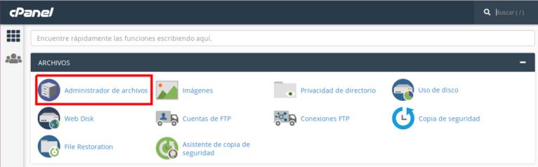 guía gestión de archivos y administrador de archivos de cpanel
